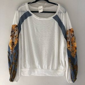 Free People NWT Casual Clash Thermal Top